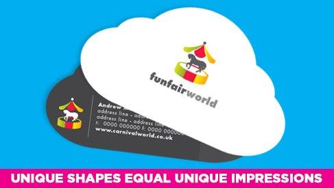 Cloud shaped business card printed full color printpapa video colourmoves